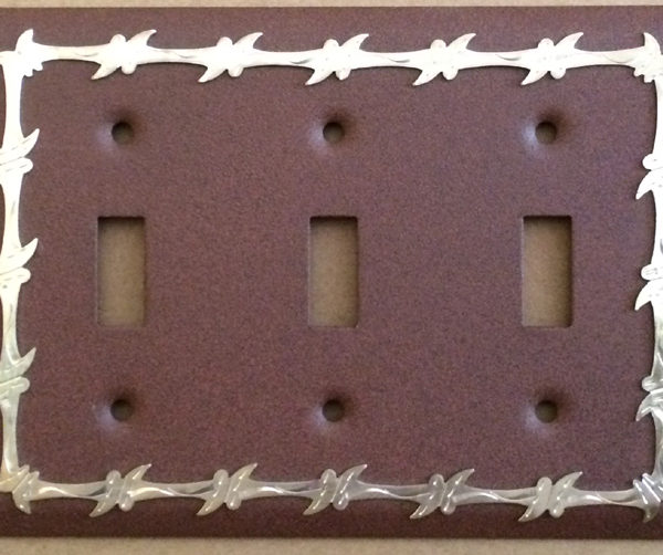 barbwire triple light switch cover