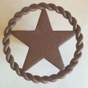 Circular rope edged pull knob with center star