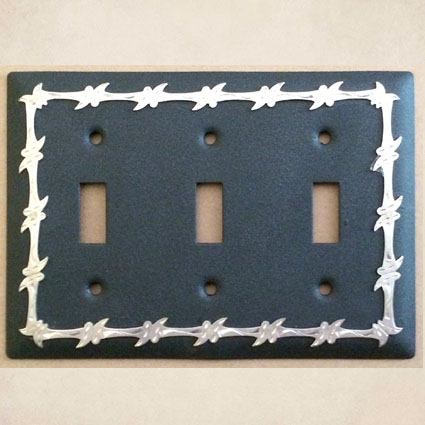 barbwire triple light switch cover in black