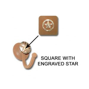 Square Robe hook with engraved star